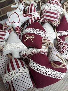Dekorácie - Vianočné ozdôbky bordó režná kolekcia - 8861470_