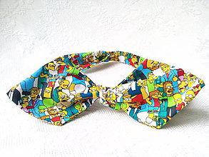 Ozdoby do vlasov - Pin Up headband on elastic (simpsons) - 8865425_