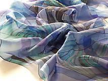 Šály - BLAUE - hodvábna ručne maľovaná štóla. - 8863071_