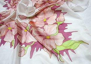 Šatky - Hodvábna šatka Ružový venček - 8865703_