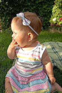 Detské doplnky - Dievčenská nylonová čelenka  - bodky tak trochu retro - 8867749_