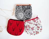 - Peňaženky - bordó+biela+čierna (Peňaženka - čiernobiele mandaly) - 8865784_