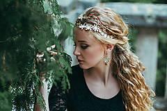 - Mosadzné náušnice so smotanovými kvetmi a achátmi - Slavianka - 8866804_