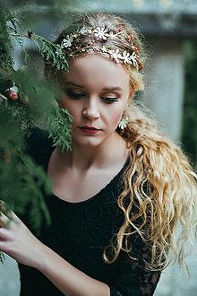 Ozdoby do vlasov - Jedinečná dvojradová čelenka so svetlými kvetmi a červeným achátom - Slavianka - 8866565_