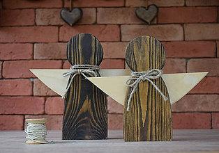 Dekorácie - Set drevených anjelov - 8865923_