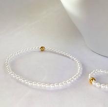 Sady šperkov - Svadobný perlový set biela zlatá - 8864515_
