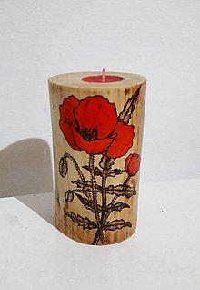 Svietidlá a sviečky - Drevený svietnik- vlčí mak - 8867744_