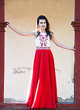 Šaty - Červené vyšívané šaty - 8864525_