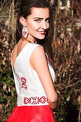 Šaty - Červené vyšívané šaty - 8864527_