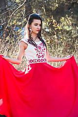 Šaty - Červené vyšívané šaty - 8864528_