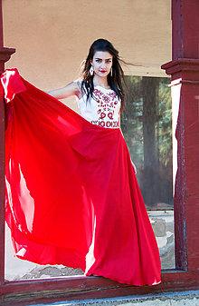 Šaty - Červené vyšívané šaty - 8864526_