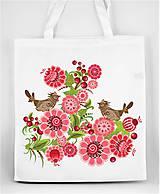 Nákupné tašky - Nákupná taška farebné folk kvety a vtáčik 04 - 8863363_