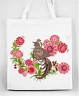 Nákupné tašky - Nákupná taška farebné folk kvety a vtáčik 05 - 8863380_