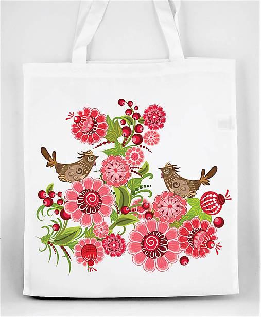 Nákupná taška farebné folk kvety a vtáčik 04
