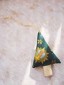 Dekorácie - Tradičné vianoce --2x  zelený stromček s vínnym kmienkom - 8863763_