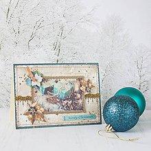 Papiernictvo - Royal Christmas - tyrkysovo-zlatá pohľadnica s balíčkami a zlatými listami - 8862921_