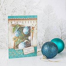 Papiernictvo - Royal Christmas - tyrkysovo-zlatá pohľadnica s ozdobami na halúzke - 8862955_