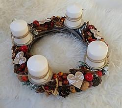 Dekorácie - Adventný veniec srdiečka s čipkou - 8863559_
