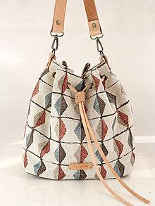 """Kabelky - Dámska veľká kabelka z exkluzívnej ľanovej látky z kolekcie """"Metrica"""" - 8863878_"""