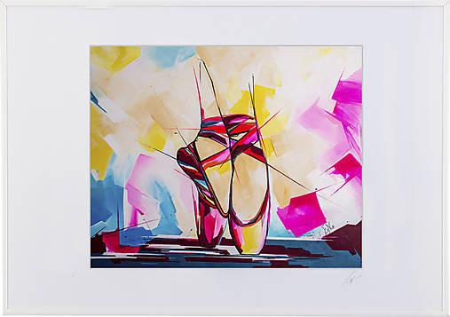 Print A3 na papieri A2 z originál obrazu Ballet schoes