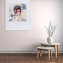 Grafika - Print A3 na papieri A2 (v ráme) z originál obrazu  D. Bowie - 8865618_