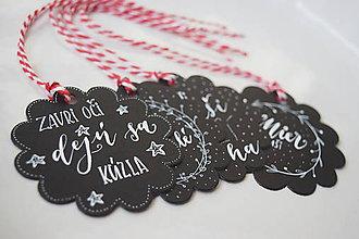 Papiernictvo - Vianočné visačky // čierne rozkvitnuté (4 ks) - 8866143_