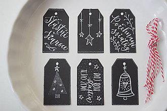 Papiernictvo - Vianočné visačky // čierne tabuľkové (6 ks) - 8866267_