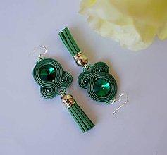 Náušnice - Soutache earrings Emerald 3. - design no.23 - 8864672_