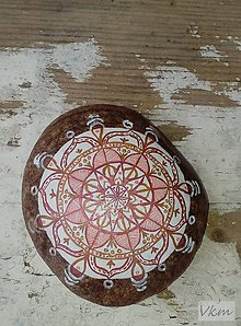 Dekorácie - Hnedočervený - Na kameni maľované - 8862430_