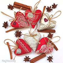Dekorácie - Vianočné Srdiečka - 8863587_