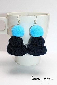 Náušnice - Náušničky zimné čapice-modré :) - 8865453_