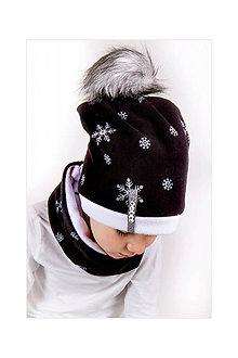 Detské súpravy - zimný set s menom a odopínacím brmbolcom Snowflakes & black - 8867730_