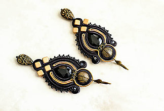 Náušnice - Arabian Nights - soutache náušnice (Čierna) - 8866324_