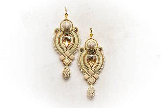 Náušnice - Arabian Nights - soutache náušnice (Zlatá) - 8866369_