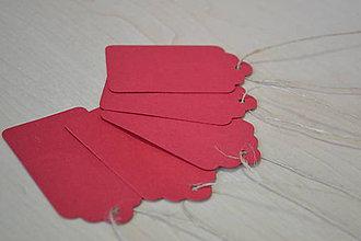Papier - 50% Kartónové visačky červené 4x7mm, z 0.90 na 0.45€/10ks - 8864584_