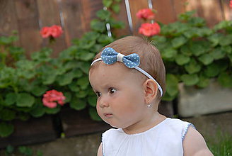 Detské doplnky - Dievčenská nylonová čelenka – mašlička denim - 8873026_