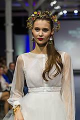 Náušnice - Mosadzné dlhé náušnice s farebnými kvetmi - Slavianka - 8869406_