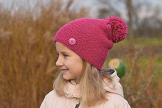 Detské čiapky - ZĽAVA z 16 na 9 eur - Tmavoružová čiapka - 8872980_