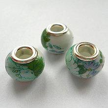 Korálky - Pandora keramic 10x13mm-1ks (zelená) - 8869505_