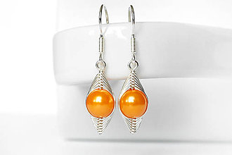 Náušnice - clarisky simple s oranžovou perličkou Ag - 8873411_