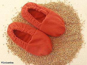 Obuv - Ohrievateľné papuče do mikrovlnky / Vyhrievacie papuče s obilím tehlové - 8873365_