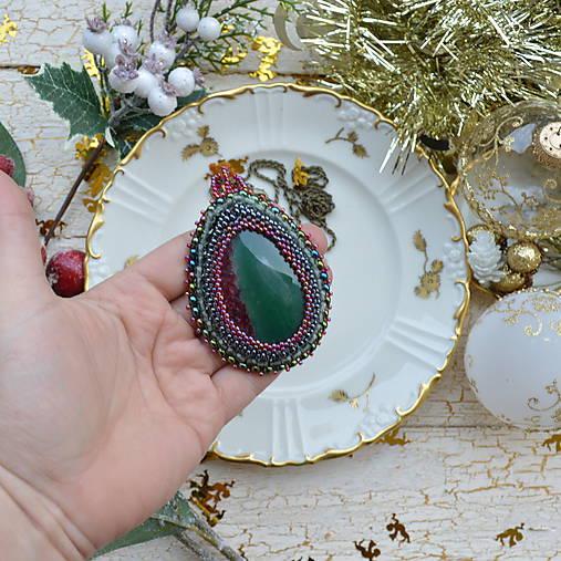 Achátový n.9 - šitý náhrdelník