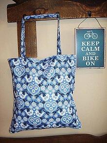 Nákupné tašky - Nákupná taška - vtáčiky a srdiečka - 8868933_