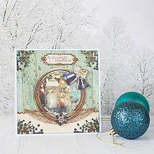 Papiernictvo - Royal Christmas - tyrkysovo-zlatá pohľadnica s lampášom a zvončekmi - 8869658_