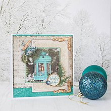 Papiernictvo - Royal Christmas - tyrkysovo-zlatá pohľadnica s lampášom - 8869697_