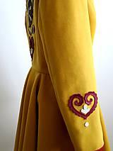 Kabáty - folk kabát s ornamentami - horčicový - 8868889_