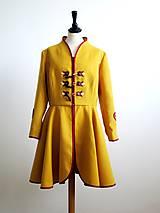Kabáty - folk kabát s ornamentami - horčicový - 8868890_