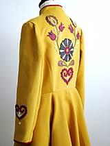 Kabáty - folk kabát s ornamentami - horčicový - 8868896_