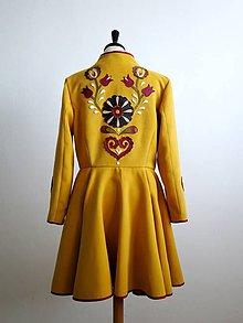Kabáty - folk kabát s ornamentami - horčicový - 8868898_