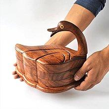 Nádoby - Veľká drevená kačka s miskami pod krídlom - 8873054_